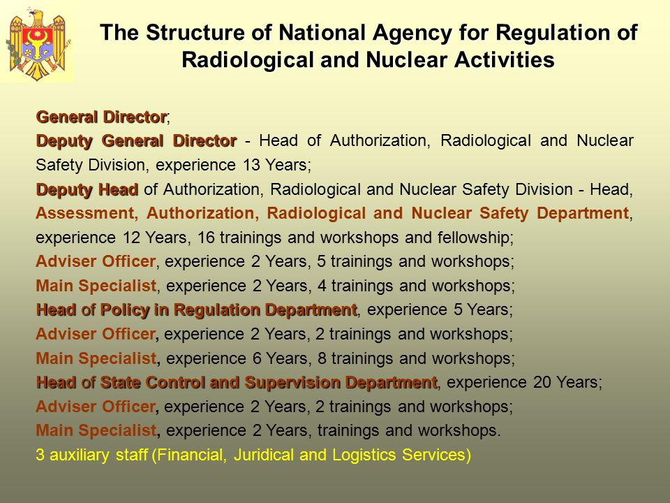 The Structure ofNational Agency for Regulation of Radiological and Nuclear Activities The Structure of National Agency for Regulation of Radiological and Nuclear Activities General Director General Director; Deputy General Director Deputy General Director - Head of Authorization, Radiological and Nuclear Safety Division, experience 13 Years; Deputy Head Deputy Head of Authorization, Radiological and Nuclear Safety Division - Head, Assessment, Authorization, Radiological and Nuclear Safety Department, experience 12 Years, 16 trainings and workshops and fellowship; Adviser Officer, experience 2 Years, 5 trainings and workshops; Main Specialist, experience 2 Years, 4 trainings and workshops; Head of Policy in Regulation Department Head of Policy in Regulation Department, experience 5 Years; Adviser Officer, experience 2 Years, 2 trainings and workshops; Main Specialist, experience 6 Years, 8 trainings and workshops; Head of State Control and Supervision Department Head of State Control and Supervision Department, experience 20 Years; Adviser Officer, experience 2 Years, 2 trainings and workshops; Main Specialist, experience 2 Years, trainings and workshops.