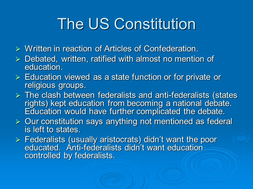 The US Constitution  Written in reaction of Articles of Confederation.