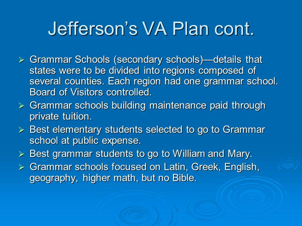 Jefferson's VA Plan cont.