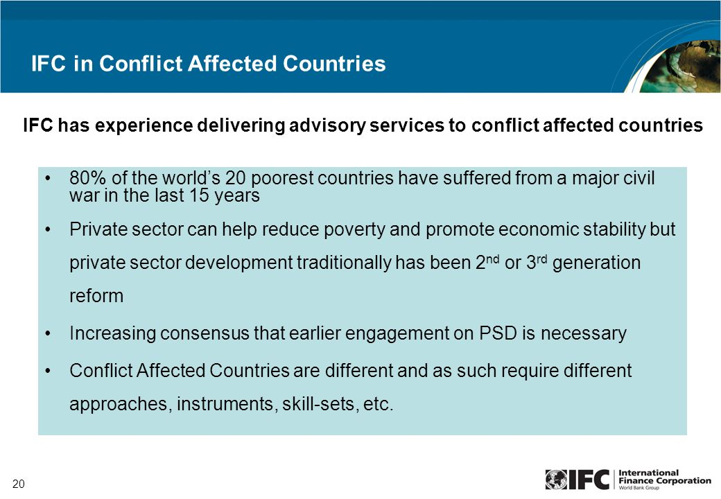 IFC Advisory Services In Africa PEP Africa CASA AMSCO NTF PSI - 20 poorest countries in the world