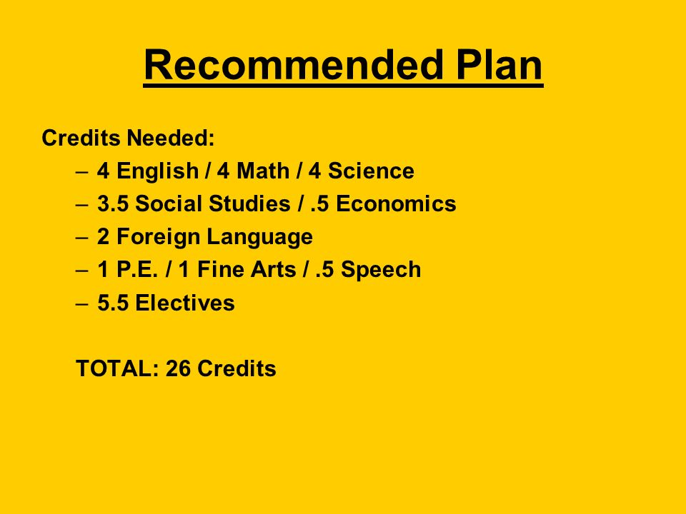 Recommended Plan Credits Needed: –4 English / 4 Math / 4 Science –3.5 Social Studies /.5 Economics –2 Foreign Language –1 P.E.