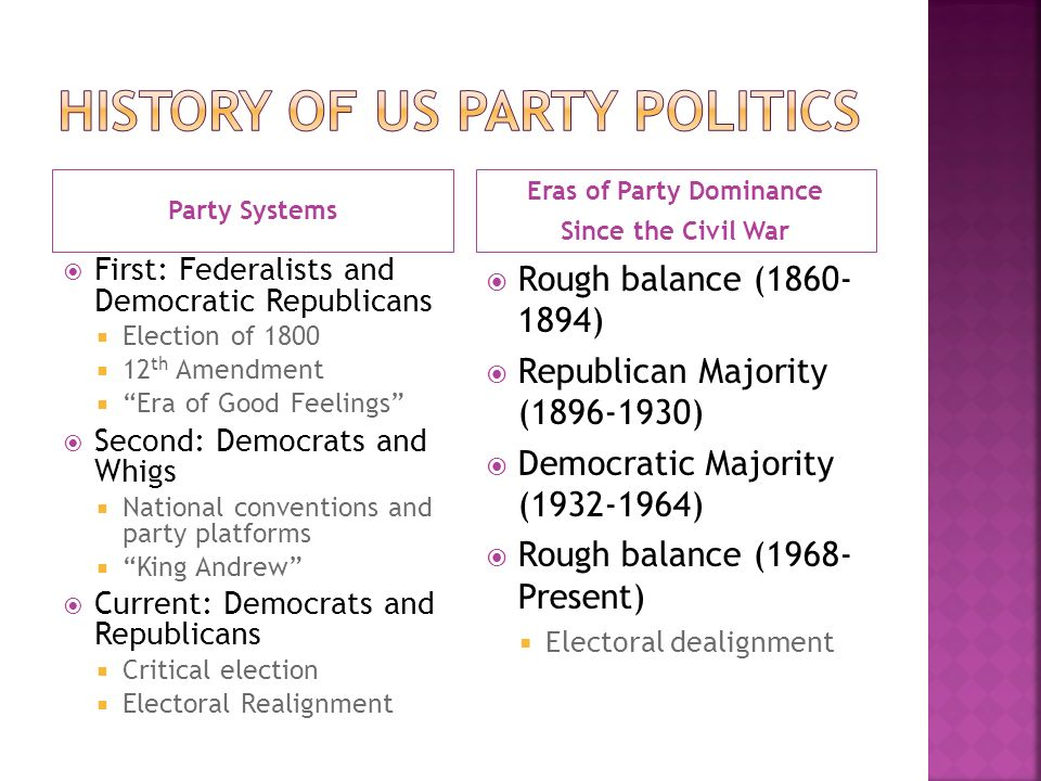 Party Systems Eras of Party Dominance Since the Civil War  First: Federalists and Democratic Republicans  Election of 1800  12 th Amendment  Era of Good Feelings  Second: Democrats and Whigs  National conventions and party platforms  King Andrew  Current: Democrats and Republicans  Critical election  Electoral Realignment  Rough balance ( )  Republican Majority ( )  Democratic Majority ( )  Rough balance (1968- Present)  Electoral dealignment