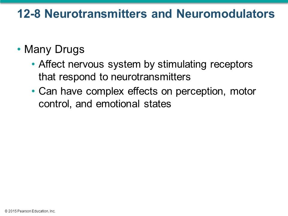 12-8 Neurotransmitters and Neuromodulators Many Drugs Affect nervous system by stimulating receptors that respond to neurotransmitters Can have complex effects on perception, motor control, and emotional states © 2015 Pearson Education, Inc.