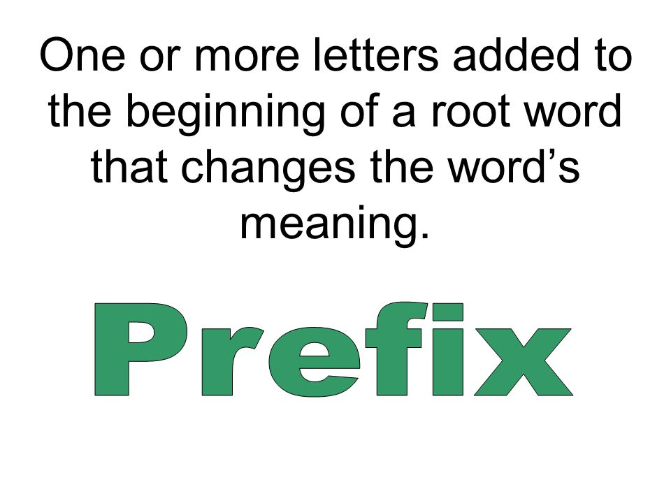One or more letters added to the beginning of a root word that changes the word's meaning.