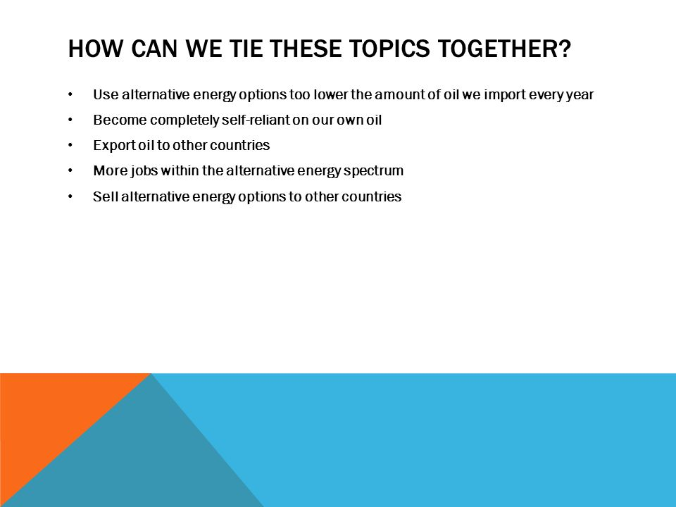 how can we tie alternative energy into the national debt problem  how can we tie these topics together