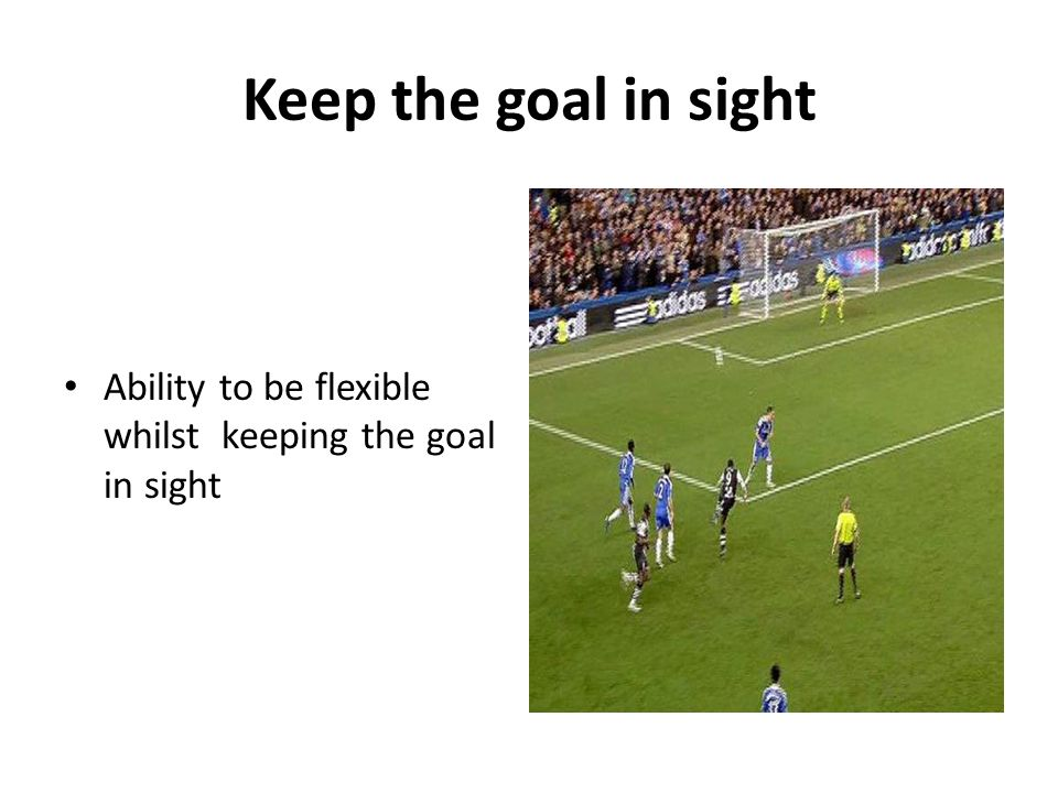Keep the goal in sight Ability to be flexible whilst keeping the goal in sight