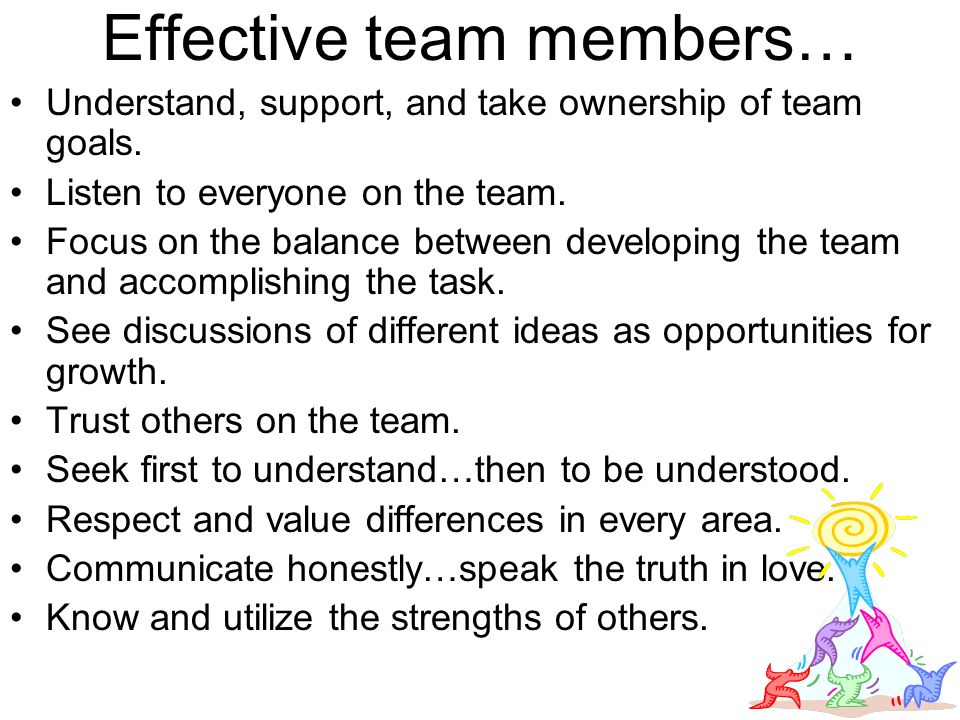 Effective team members… Understand, support, and take ownership of team goals.