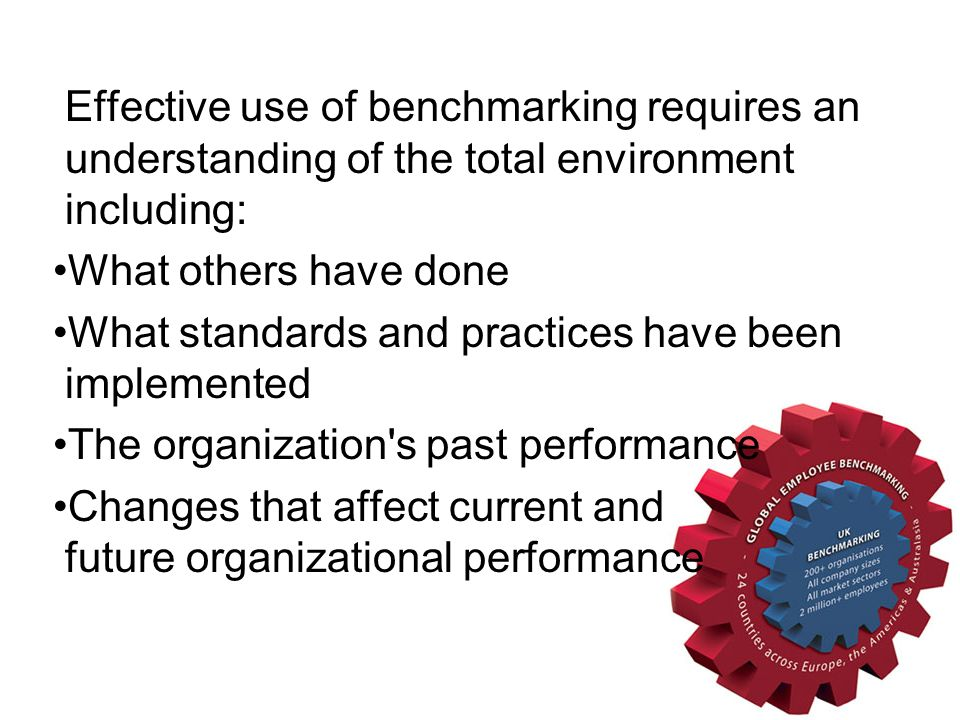 Effective use of benchmarking requires an understanding of the total environment including: What others have done What standards and practices have be