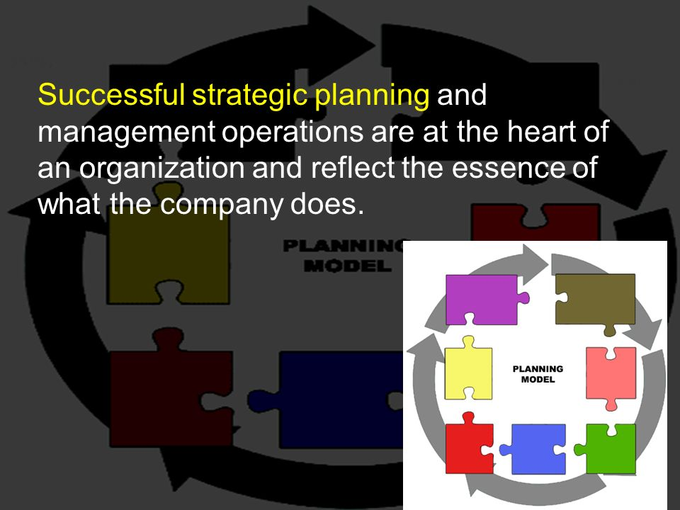 Successful strategic planning and management operations are at the heart of an organization and reflect the essence of what the company does.