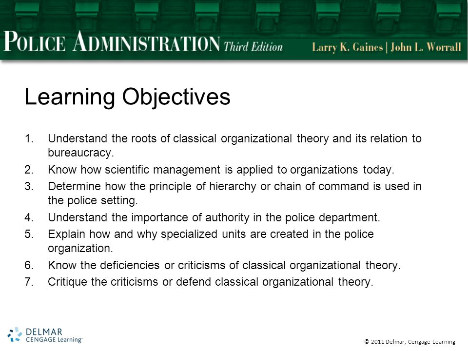 © 2011 Delmar, Cengage Learning Learning Objectives 1.Understand the roots of classical organizational theory and its relation to bureaucracy.