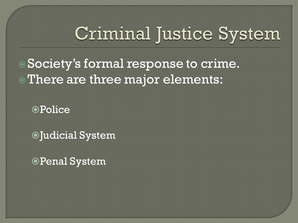  Society's formal response to crime.