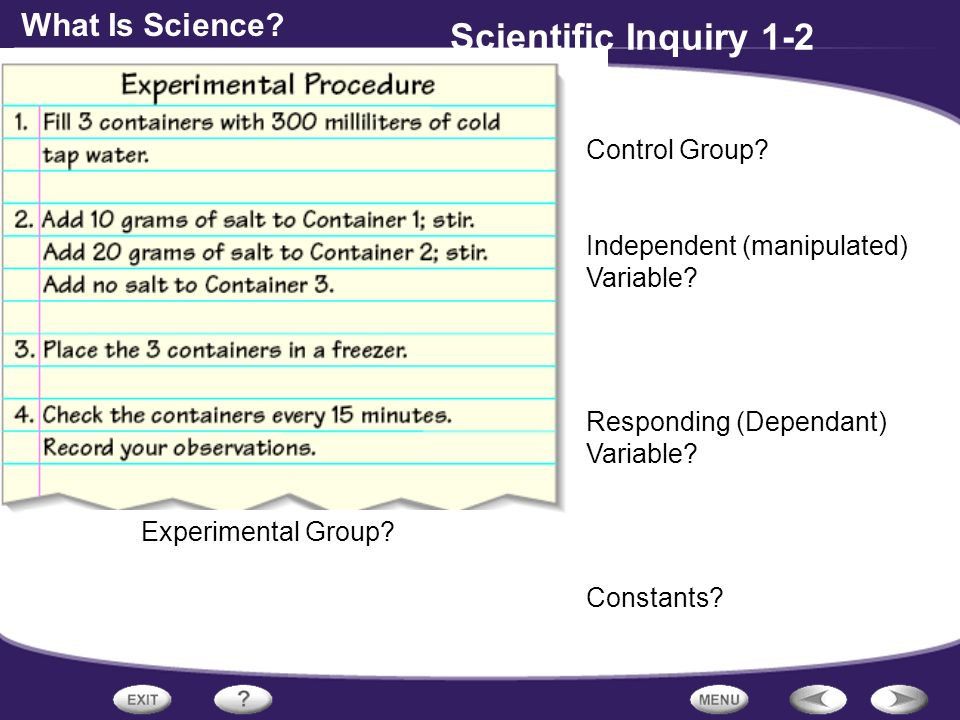 What Is Science. Scientific Inquiry 1-2 Control Group.