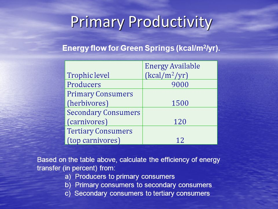 Trophic level Energy Available (kcal/m 2 /yr) Producers9000 Primary Consumers (herbivores)1500 Secondary Consumers (carnivores)120 Tertiary Consumers (top carnivores)12 Energy flow for Green Springs (kcal/m 2 /yr).