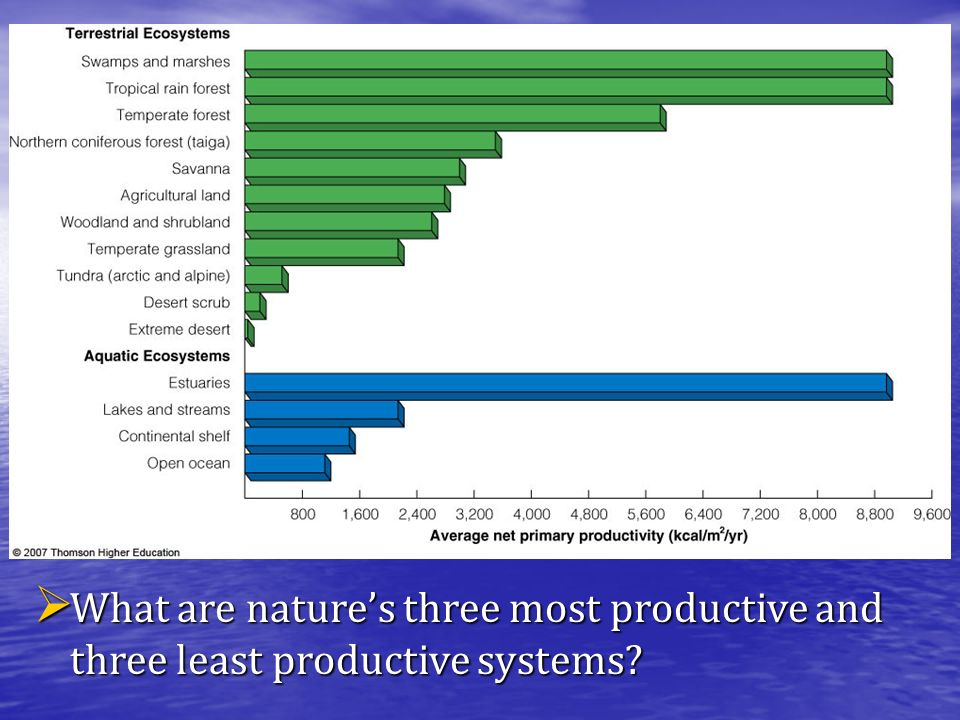  What are nature's three most productive and three least productive systems