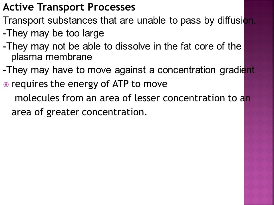 Active Transport Processes Transport substances that are unable to pass by diffusion.