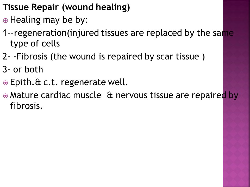 Tissue Repair (wound healing)  Healing may be by: 1--regeneration(injured tissues are replaced by the same type of cells 2- -Fibrosis (the wound is repaired by scar tissue ) 3- or both  Epith.& c.t.