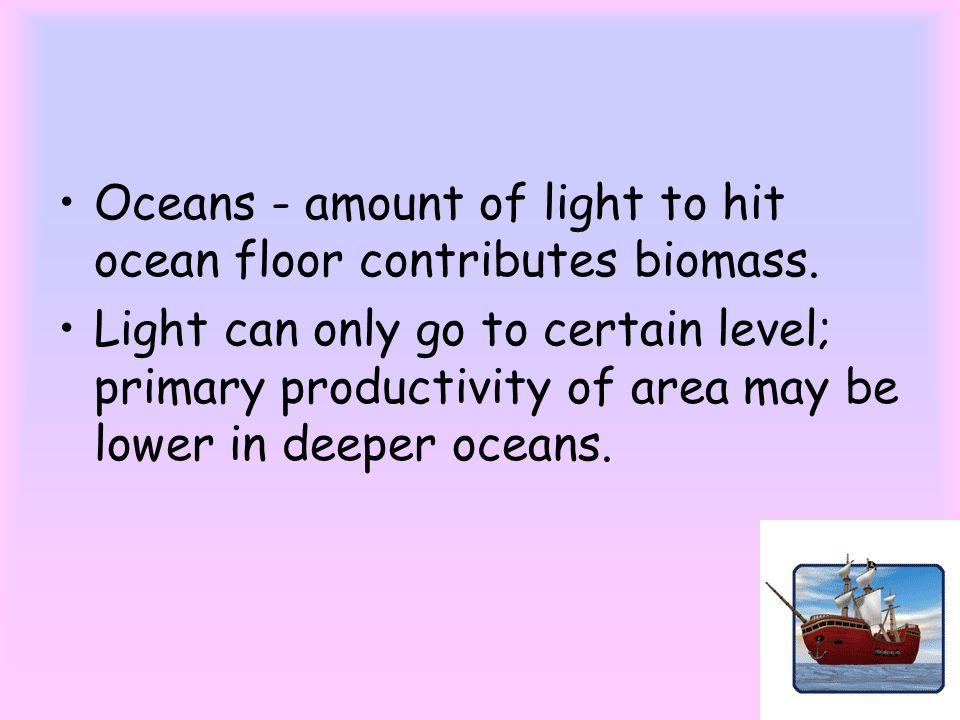 Oceans - amount of light to hit ocean floor contributes biomass.