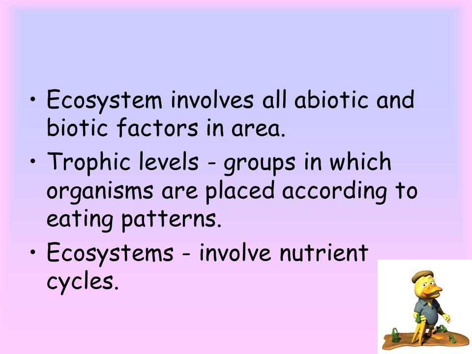 Ecosystem involves all abiotic and biotic factors in area.