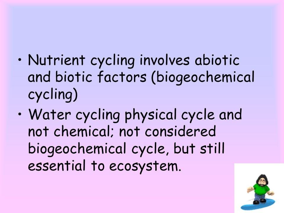 Nutrient cycling involves abiotic and biotic factors (biogeochemical cycling) Water cycling physical cycle and not chemical; not considered biogeochemical cycle, but still essential to ecosystem.