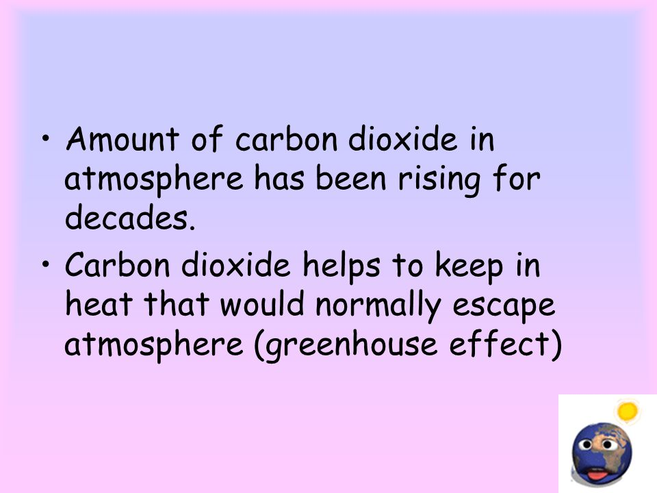 Amount of carbon dioxide in atmosphere has been rising for decades.