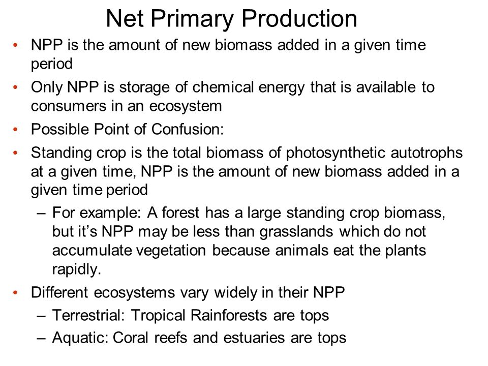 NPP is the amount of new biomass added in a given time period Only NPP is storage of chemical energy that is available to consumers in an ecosystem Possible Point of Confusion: Standing crop is the total biomass of photosynthetic autotrophs at a given time, NPP is the amount of new biomass added in a given time period –For example: A forest has a large standing crop biomass, but it's NPP may be less than grasslands which do not accumulate vegetation because animals eat the plants rapidly.