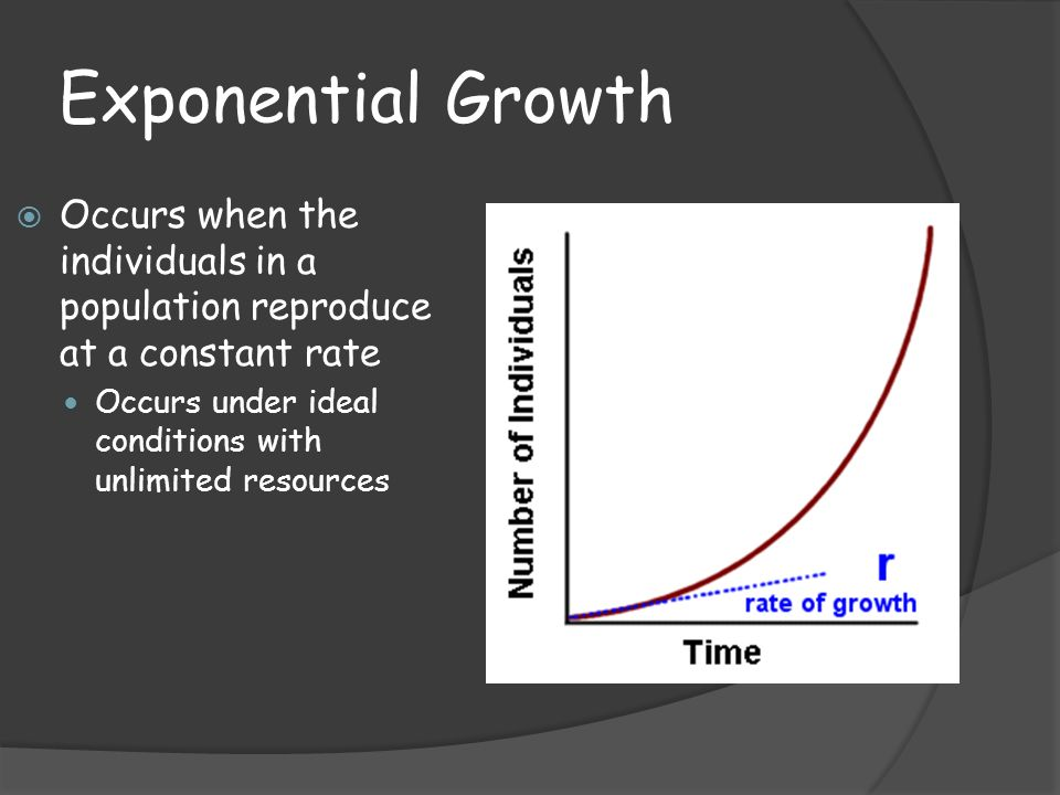 Exponential Growth  Occurs when the individuals in a population reproduce at a constant rate Occurs under ideal conditions with unlimited resources