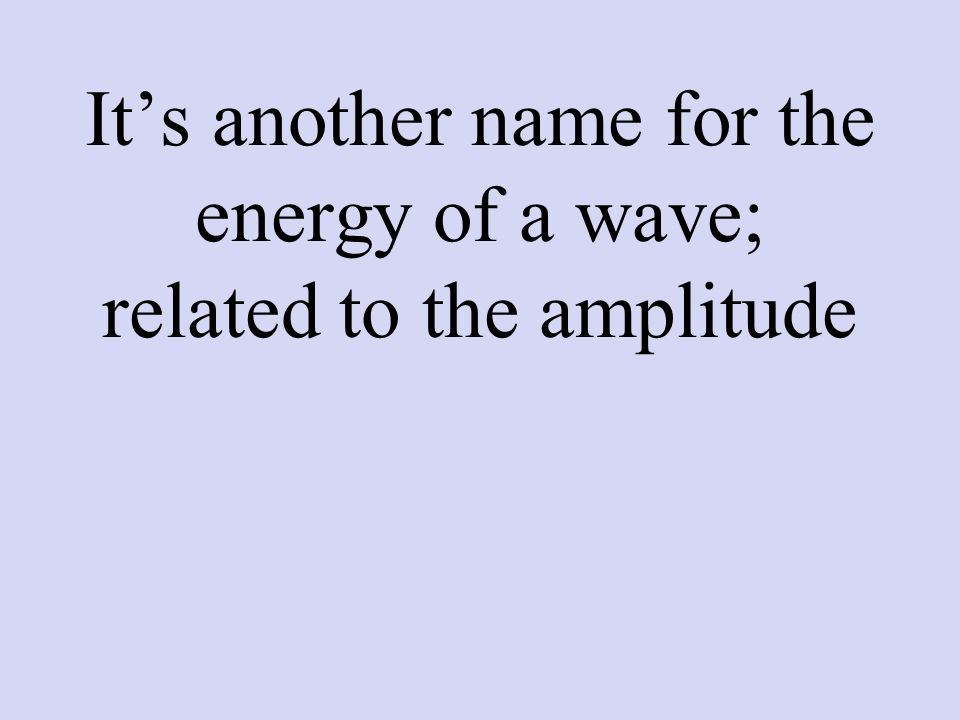 It's another name for the energy of a wave; related to the amplitude
