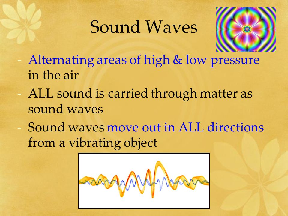 Compression -Where molecules are being pressed together as the sound waves move through matter -For example, -a wave travels through the springs just like sound waves travel through the air -the places where the springs are close together are like compressions in the air.