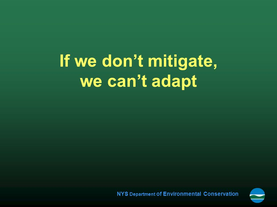 NYS Department of Environmental Conservation If we don't mitigate, we can't adapt