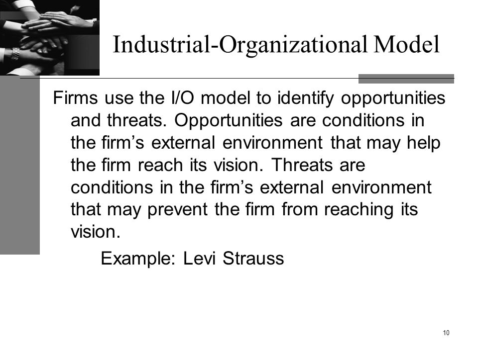 Industrial-Organizational Model Firms use the I/O model to identify opportunities and threats.