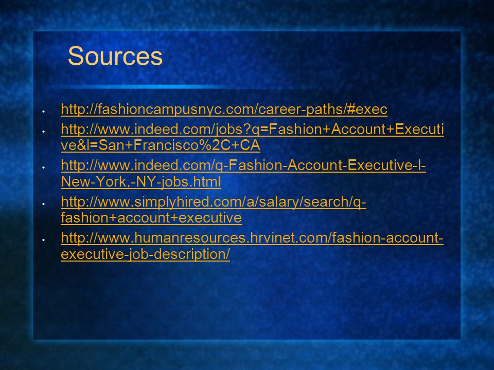 Fashion Account Executive By Dana Boyd. Job Description Present ...