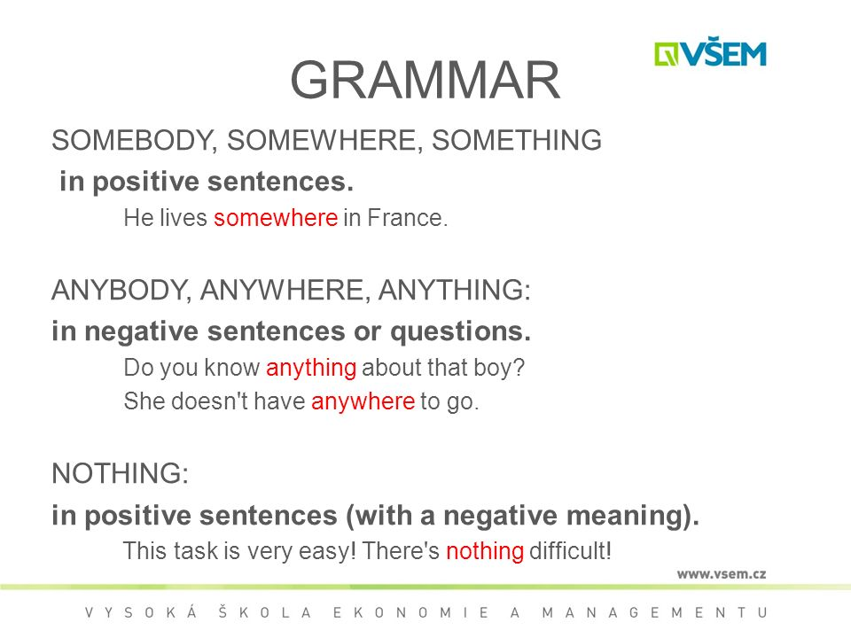 GRAMMAR SOMEBODY, SOMEWHERE, SOMETHING in positive sentences.