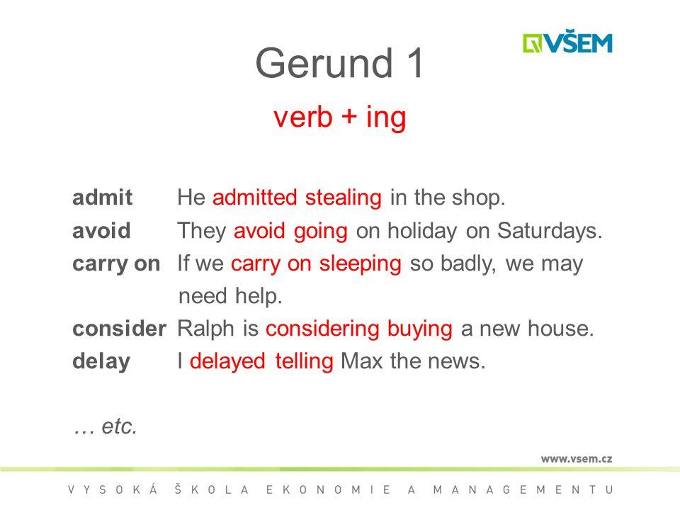 Gerund 1 verb + ing admitHe admitted stealing in the shop.