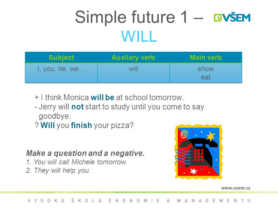 Simple future 1 – WILL + I think Monica will be at school tomorrow.