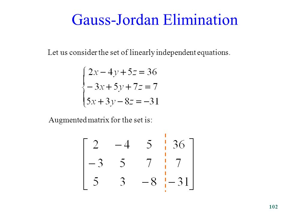 102 Gauss-Jordan Elimination Let us consider the set of linearly independent equations.