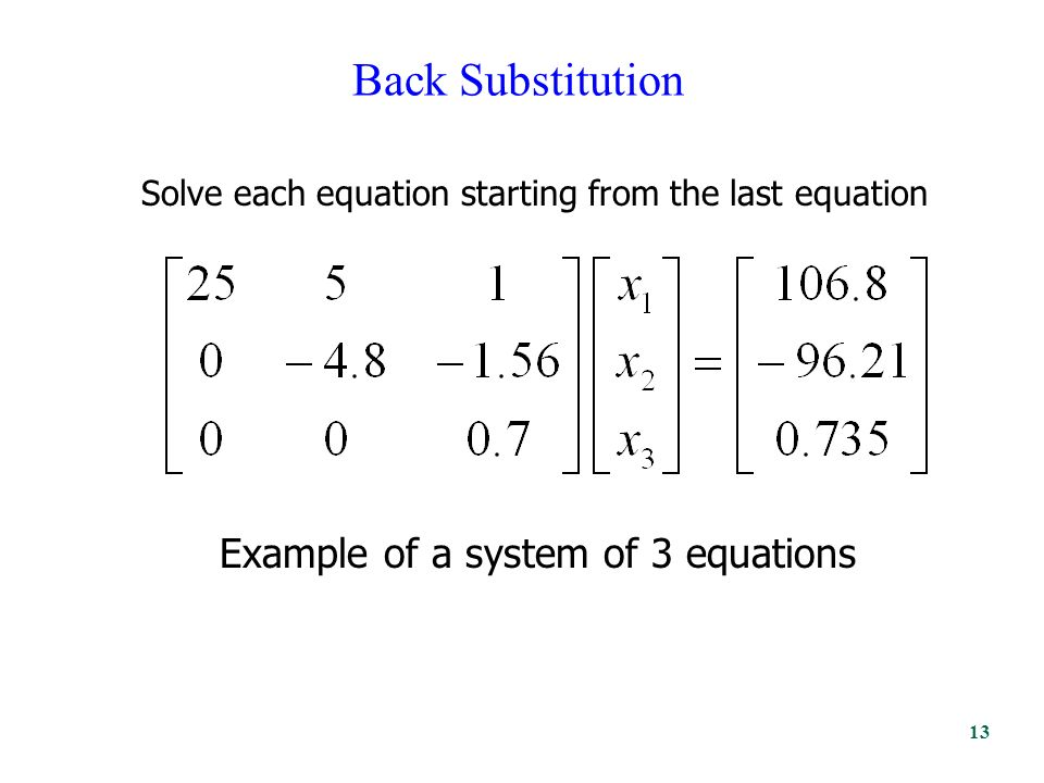 Back Substitution Solve each equation starting from the last equation Example of a system of 3 equations 13