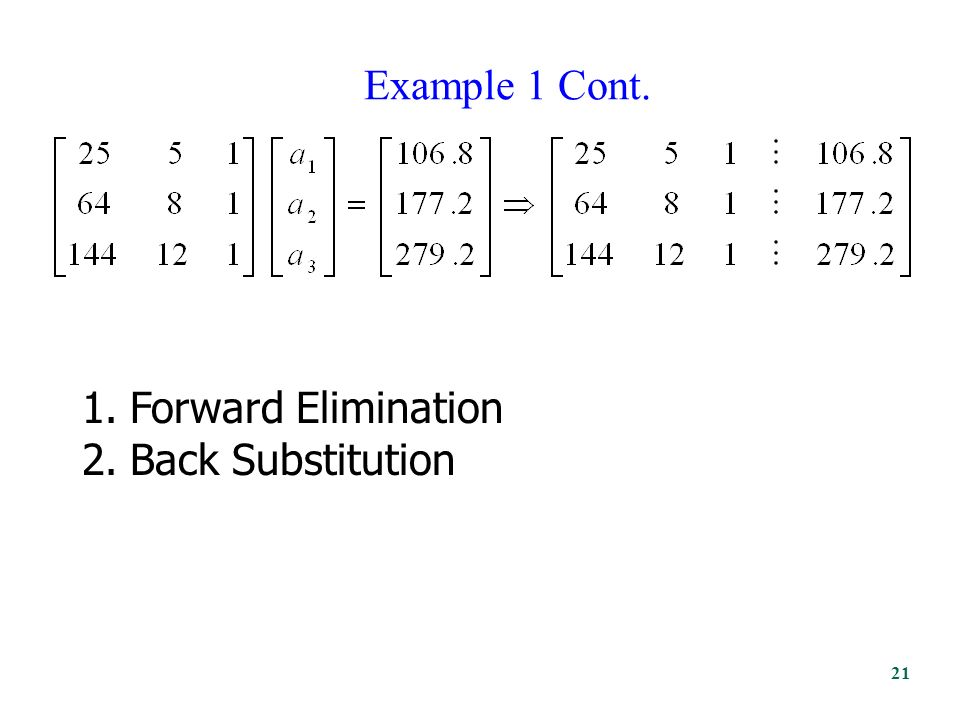 Example 1 Cont. 1.Forward Elimination 2.Back Substitution 21