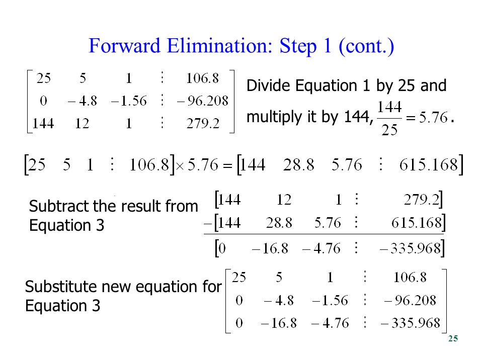 Forward Elimination: Step 1 (cont.). Divide Equation 1 by 25 and multiply it by 144,.