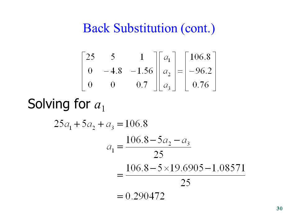 Back Substitution (cont.) Solving for a 1 30