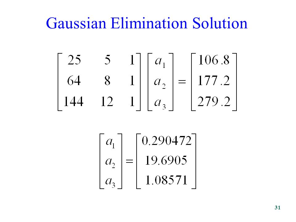 Gaussian Elimination Solution 31