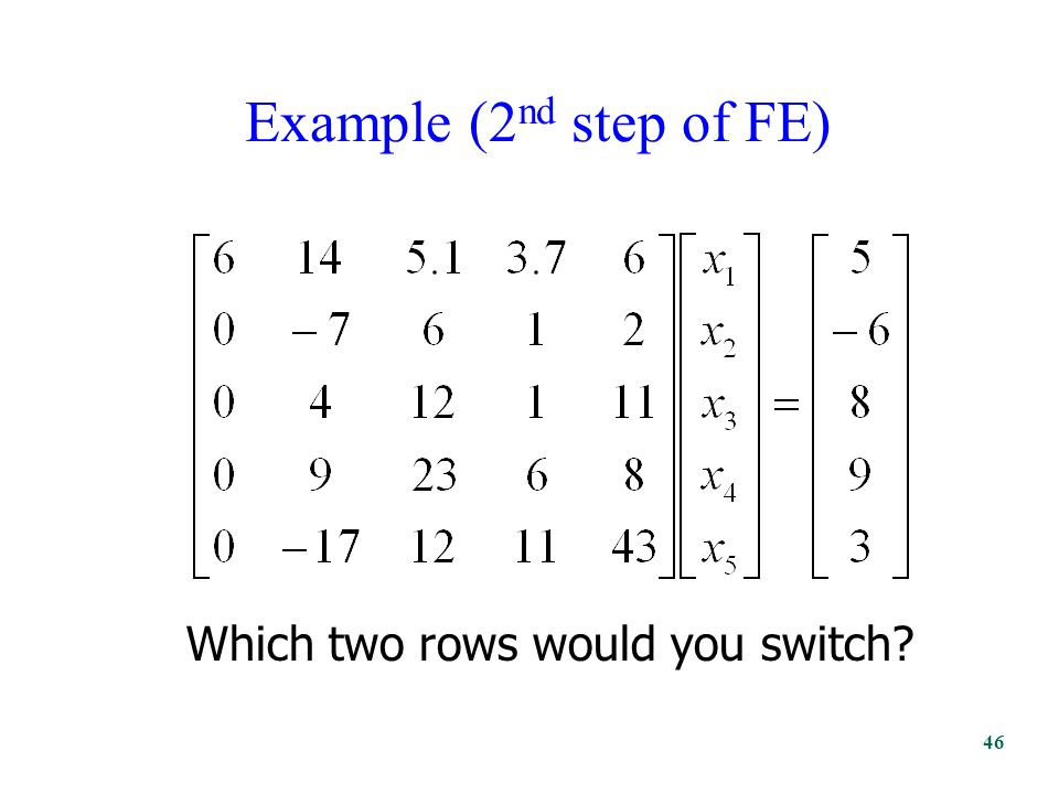 Example (2 nd step of FE) Which two rows would you switch 46