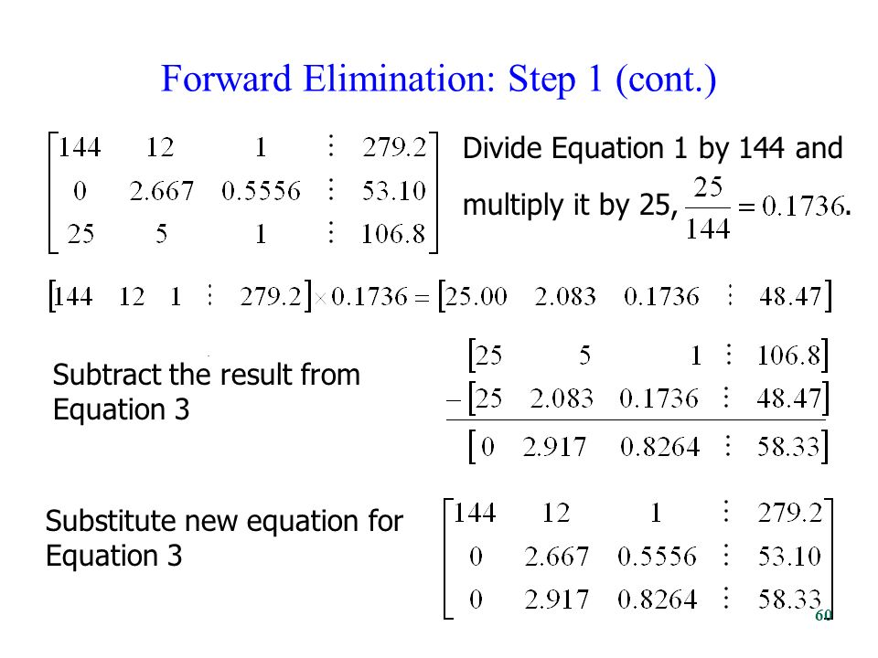 Forward Elimination: Step 1 (cont.). Divide Equation 1 by 144 and multiply it by 25,.