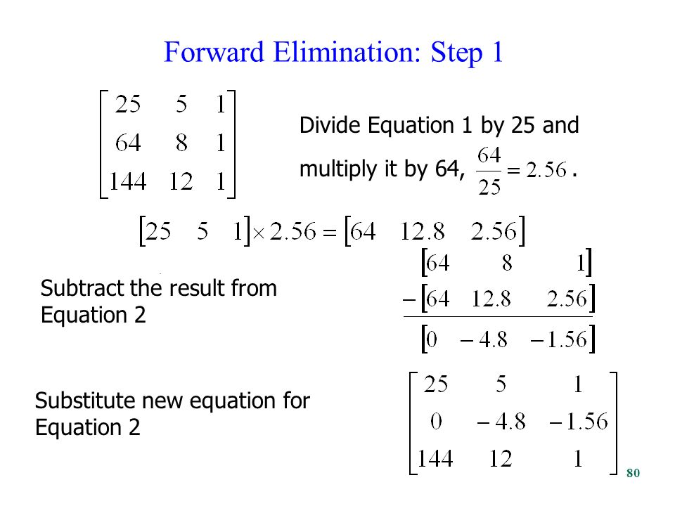Forward Elimination: Step 1. Divide Equation 1 by 25 and multiply it by 64,.