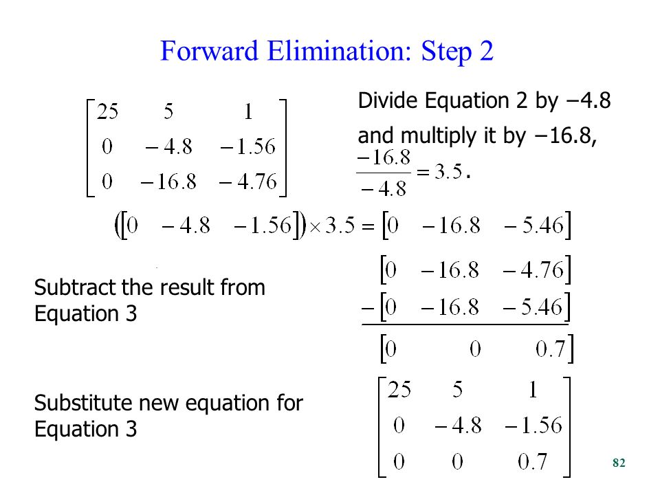 Forward Elimination: Step 2. Divide Equation 2 by −4.8 and multiply it by −16.8,.