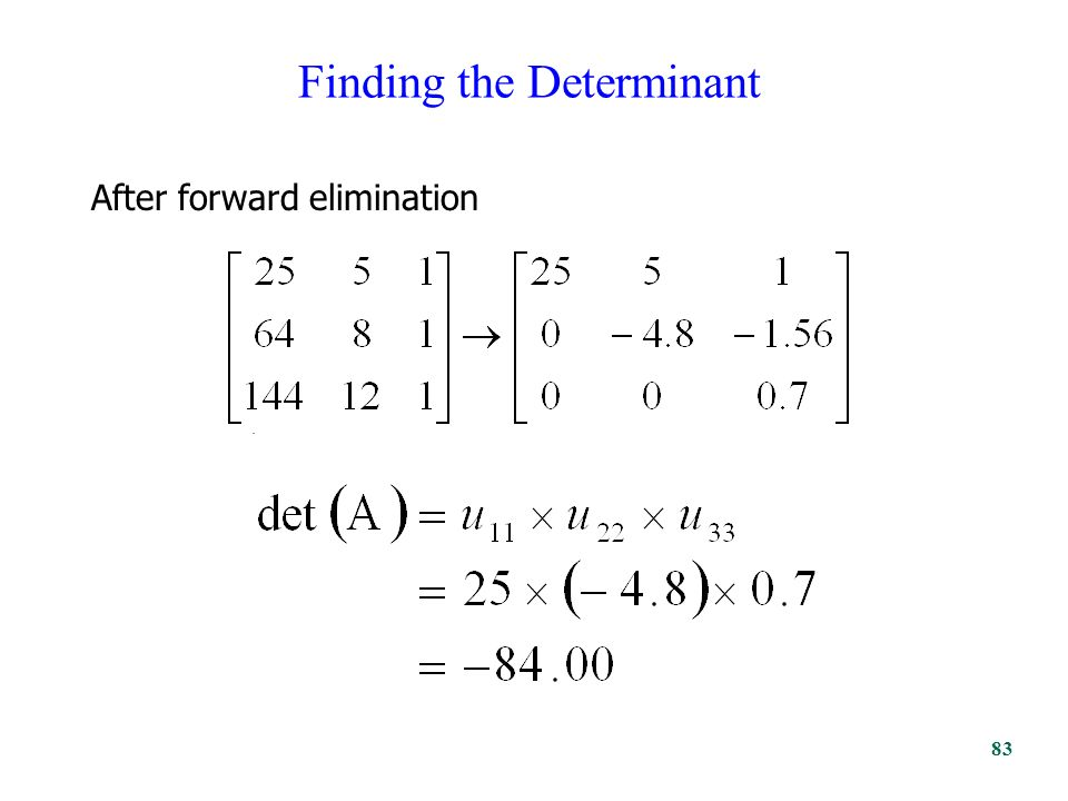 Finding the Determinant. After forward elimination 83