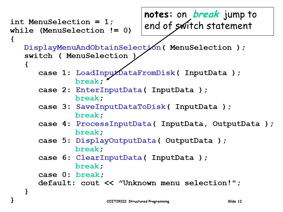 COIT29222 Structured Programming Slide 12 int MenuSelection = 1; while (MenuSelection != 0) { DisplayMenuAndObtainSelection( MenuSelection ); switch ( MenuSelection ) { case 1: LoadInputDataFromDisk( InputData ); break; case 2: EnterInputData( InputData ); break; case 3: SaveInputDataToDisk( InputData ); break; case 4: ProcessInputData( InputData, OutputData ); break; case 5: DisplayOutputData( OutputData ); break; case 6: ClearInputData( InputData ); break; case 0: break; default: cout << Unknown menu selection! ; } notes: on break jump to end of switch statement
