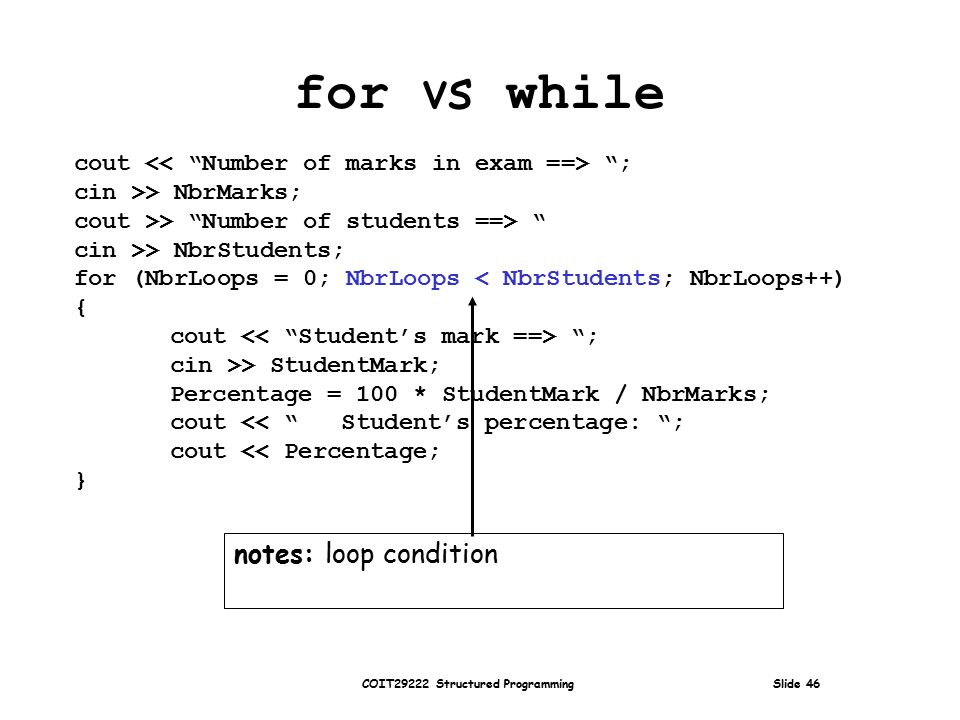COIT29222 Structured Programming Slide 46 cout ; cin >> NbrMarks; cout >> Number of students ==> cin >> NbrStudents; for (NbrLoops = 0; NbrLoops < NbrStudents; NbrLoops++) { cout ; cin >> StudentMark; Percentage = 100 * StudentMark / NbrMarks; cout << Student's percentage: ; cout << Percentage; } for vs while notes: loop condition