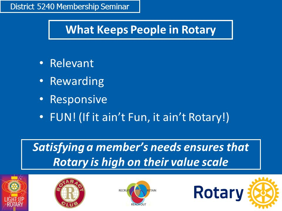 District 5240 Membership Seminar What Keeps People in Rotary Relevant Rewarding Responsive FUN.