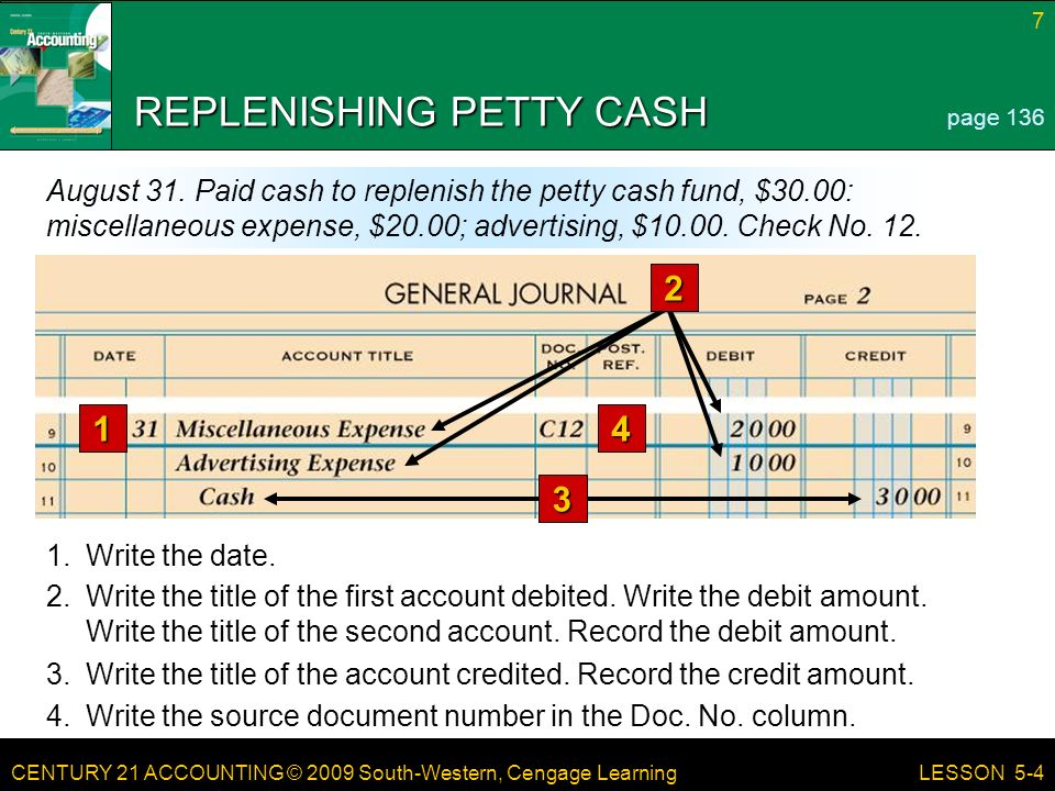 CENTURY 21 ACCOUNTING © 2009 South-Western, Cengage Learning 7 LESSON Write the date.