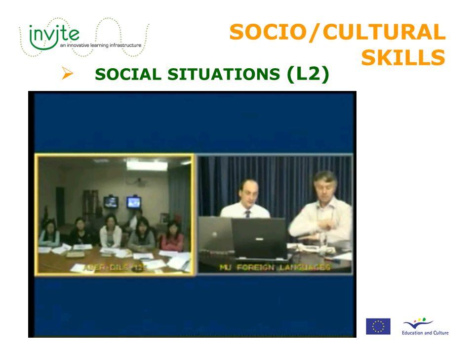 SOCIO/CULTURAL SKILLS  SOCIAL SITUATIONS (L2)